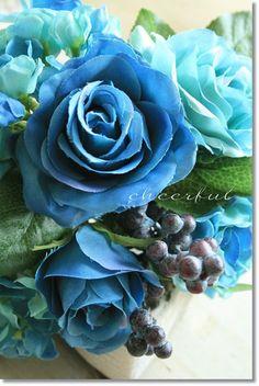 造花(バラ)ブルー束インテリアグリーン観葉植物フェイクグリーン【造花ブルーローズブーケ】