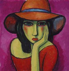 Mujer con sombrero naranja (2014) Gouache sobre papel , 25x25 xm Guillermo Martí…