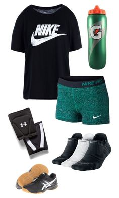 """""""Volleyball"""" by hjpnosser ❤ liked on Polyvore featuring NIKE, Under Armour and Asics"""