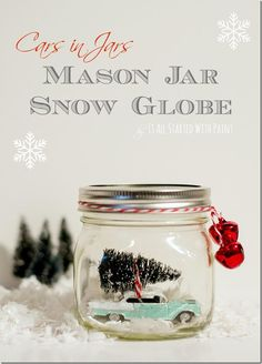 A car, a jar, and a little time is all you need to make this holiday snowglobe craft!