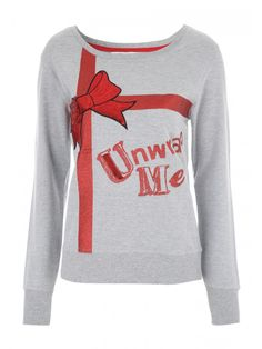 Get in the festive spirit with this women's novelty Christmas sweater. With a 'Unwrap Me' slogan and a sequin trim bow motif, this jumper is the perfect pick for a spot of festive fun. Christmas Slogans, Christmas Tops, Christmas Jumpers, Christmas Sweaters, Polka Dot Sweater, Bow Tops, Coats For Women, Tee Shirts, Graphic Sweatshirt