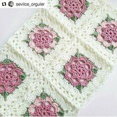 with ・・・ - ala_baft Crochet Afgans, Crochet Quilt, Crochet Home, Baby Blanket Crochet, Crochet Motif, Crochet Crafts, Crochet Stitches, Crochet Projects, Granny Square Crochet Pattern