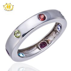 Hutang 100% Natural Multi-color Gemstones Solid 925 Sterling Silver Band Ring Fine Jewelry Peridot Garnet Iolite Blue Topaz //Price: $54.57 & FREE Shipping //     #lovelylady