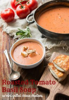Roasted tomatoes make the best tomato soup ever! This roasted tomato basil soup with mini grilled cheese croutons is our current dinner obsession. ohsweetbasil.com via @ohsweetbasil