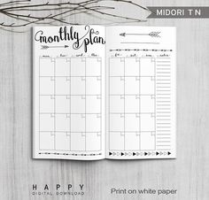 Printable Arrow Midori Monthly Planner Inserts, Fauxdori Bullet Journal