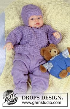 """Rocking in Lavender / DROPS Baby - DROPS jumper with textured pattern, pants, hat and booties in """"BabyMerino"""". Knit Baby Pants, Knitted Baby Clothes, Baby Leggings, Baby Cardigan, Knitted Bags, Crochet Clothes, Baby Knitting Patterns, Baby Patterns, Knitting For Charity"""