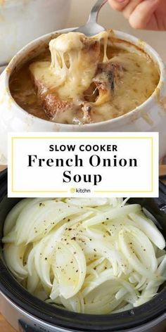 This blissfully delicious French onion soup is easy to make and tastes heavenly! You can make it from start to finish in the slow cooker without losing your culinary stride! Recipes slow cooker 62 Melt-In-Your-Mouth Slow Cooker Recipes to Keep You Warm Crock Pot Slow Cooker, Crock Pot Cooking, Cooking Lamb, Cooking Steak, Slow Cooker Bread, Cooking Beets, Cooking Bacon, Oven Cooking, Slow Cooker Chilli
