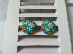 Multi-Colored Flowers on Teal Fabric Covered Button Post Earrings
