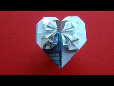 How to fold a heart with money. Money folding: Heart - Origami Heart Fold bank note heart - make mon Money Origami, Origami Paper Art, Origami Easy, Heart Origami, Origami Box, Folding Money, Diy Crafts For Kids, Wedding Gifts, Photos