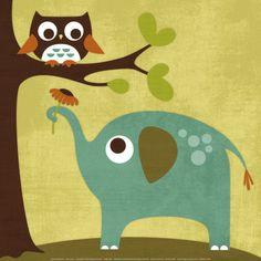 Owl and Elephant Obra de arte por Nancy Lee en AllPosters.com.ar.