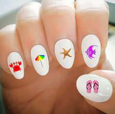 Nail Decals, Summer Beach Decals, Water Transfer Nail Decals,Nail Tattoo,Fashionable Nail Art,Custom Nail Decals by ShopRisasPieces on Etsy
