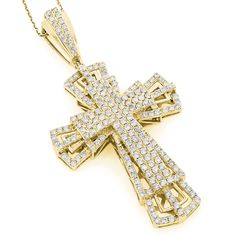 This luxurious Gold Diamond Cross Pendant weighs approximately 15 grams and showcases carats of dazzling round diamonds. Featuring an intricate multi-tier design and a highly polished gold finish, this diamond cross necklace is available in w Diamond Cross Necklaces, Diamond Pendant Necklace, Gold Chains For Men, 14k Gold Chain, Cultured Pearl Necklace, Diamond Heart, Cross Pendant, Crosses, Women's Jewelry