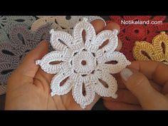 Crochet Flowers Easy Notikaland is website dedicated to crochet and knitting tutorials. Free Crochet Doily Patterns, Crochet Snowflake Pattern, Crochet Motif, Crochet Designs, Crochet Doilies, Crochet Puff Flower, Crochet Flower Tutorial, Crochet Flowers, Crochet Leaves