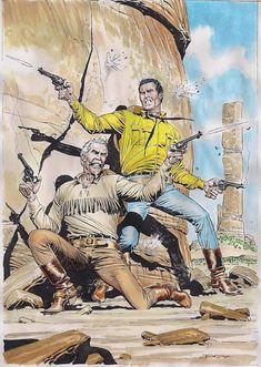 Ilustração original de Claudio Villa para o mini-póster de Tex Nuova Ristampa 395