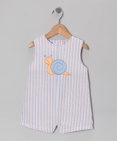 Take a look at this Blue Stripe Snail Seersucker Shortalls - Infant by Petit Pomme on #zulily today!