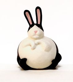 Primitive Folk Art Large Dutch Rabbit Gourd Sculpture