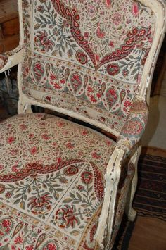 louis xv style chair vintage indian woodblock fabric