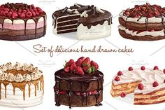 Delicious hand drawn cake collection by Natalka Dmitrova on @creativemarket art, background, baked, bakery, birthday, blueberry, brownie, cake, chocolate, collection, confectionery, cream, cupcake, decoration, delicious, design, dessert, drawing, drawn, food, fruit, hand, homemade, ice, illustration, isolated, menu, muffin, party, pastry, pie, realistic, recipe, restaurant, set, sketch, strawberry, sweet, tasty, vector, vintage, watercolor, wedding, yummy, coffee shop, candy, french…