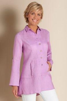 Island Breeze Shirt - Linen Coverup Shirt, Womens Linen Buttonup Shirt   Soft Surroundings
