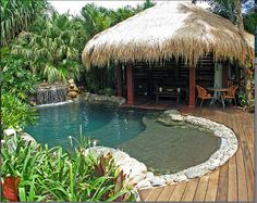 Tropical pool and hut idea Pool. ideas, backyard, patio, diy, landscape, deck, party, garden, outdoor, house, swimming, water, beach.