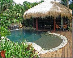 Tropical pool and hut idea