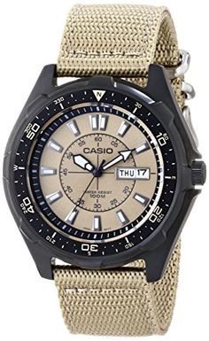 Casio Men's AMW110-9AV Classic Analog Tan Nylon Strap Watch * Be sure to check out this awesome product.