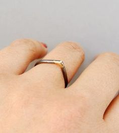 Oxidized Silver & Gold Peak Ring