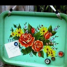 vintage metal tray + ribbon = message board!