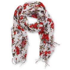 Peach Couture Vintage Inspired Floral Print Scarf (€19) ❤ liked on Polyvore featuring accessories, scarves, red, red shawl, oblong scarves, long scarves, lightweight scarves and rayon scarves