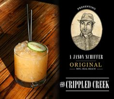 The Crippled Creek - 1 1/2 oz Angel's Envy Bourbon - 1/2 oz Lemon Juice - 1/2 oz Pomegranate Molasses - 2 teasp Cane Syrup - 1/2 barspoon Dijon Mustard - 2 slices of Cucumber (muddled) -  Shake, strain into an old fashioned glass, top with crushed ice, garnish with cucumber slice and a celery seed or a fat pinch striped across the slice.