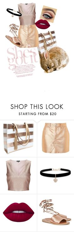 """Rose Gold"" by aloubug04 ❤ liked on Polyvore featuring Topshop, Miss Selfridge, Betsey Johnson, Lime Crime and Ancient Greek Sandals"