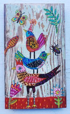 Small Folk Art Bird Painting on Wood by evesjulia12 on Etsy