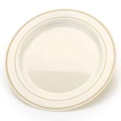 Simcha Chinalike 10 inch Plastic Plate Ivory/Gold/Case of 120