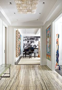David Mann Designs a New York City Apartment Photos | Architectural Digest----Stormy Gray travertine marble from Stone Source