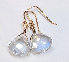 Crystal Glass Faceted Earrings Dangle Drop Bead Earrings