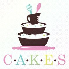 Sweet, creative logo design that contains stacked baking supplies that resemble a three tier cake. This unique logo design will set your cake shop or bakery apart from your competition! Cupcake Logo, Cupcake Shops, Cupcake Clipart, Bakery Names, Dessert Logo, Cake Branding, Cupcake Factory, Bakery Business, Business Logos
