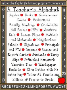 In honor of teacher's everywhere, here is a freebie for you to enjoy! This poster has the teacher's alphabet and is a cute decoration for any teacher's classroom! Share it with your colleagues for Teacher Appreciation Week!
