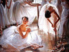 "Buy The Painting ""Ballerina"" - white, painting, dance, ballet, painting dancers oil painting Art by Guan Zeju Art Ballet, Ballerina Painting, Painting Of Girl, Ballet Girls, Ballet Dancers, Artist Painting, Oil Painting On Canvas, Ballerinas, Dress Painting"