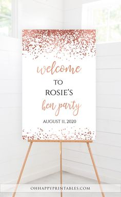 Bridal Shower Welcome Sign, Rose Gold Bridal Shower, Bridal Shower Decor, Rose Gold Decor, DIY Welcome Sign Bachelorette Party Decorations, Bridal Shower Decorations, Baby Shower Party Games, Bridal Shower Welcome Sign, Rose Gold Decor, Gold Bridal Showers, Sign Templates, Invitations, Gold Confetti