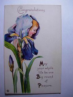 Pre 1915 Girl's Face in Blue Flower Fantasy Art Nouveau Unused Postcard Y8244 | eBay