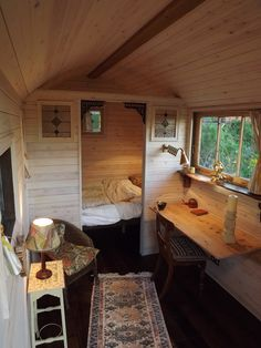 52 new Ideas for small boats interior tiny house Tiny Cabins, Cabins And Cottages, Tiny House Living, Small Living, Living In A Shed, Living Room, Living Area, Shepherds Hut For Sale, Posh Sheds