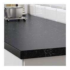 "SÄLJAN Countertop, black marble effect - black marble effect - 74x1 1/2 "" - IKEA"