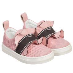 Fendi Girls Pink Leather & Mesh Slip-On Trainers at Childrensalon.com