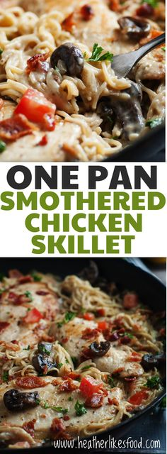 Flavorful chicken and creamy pasta all cooked up in one simple pan. One of my family's very favorite meals!