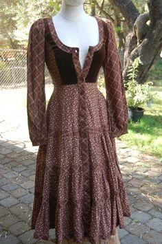Vintage Gunne Sax/Jessica Prairie Boho Hippie Dress Calico Print Sz 3-5 #GunneSax