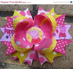 Peppa Pig Inspired Custom Boutique Hair Bow for Peppa Pig birthday party Pig Birthday, Third Birthday, 3rd Birthday Parties, Birthday Ideas, Baby Girl Hair Bows, Pig Party, Boutique Hair Bows, Diy Bow, Crafts