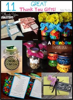 11 Great Thank You Gift Ideas! These are so cute! www.SodaPopAve.com