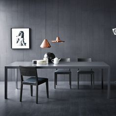 dining - grey on grey + copper light fixtures