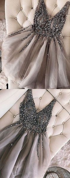 Luxurious Sequins Beaded V-neck Tulle Short Gray Homecoming Dresses – Okdresse. - Luxurious Sequins Beaded V-neck Tulle Short Gray Homecoming Dresses – Okdresses Source by - Grey Evening Dresses, Grey Prom Dress, Hoco Dresses, Tulle Prom Dress, Trendy Dresses, Dress Up, Beaded Dresses, Dress Formal, Short Dresses For Prom