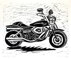 Harley Motorcycle - Linocut Print